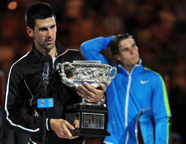 In the longest Grand Slam final in the Open Era, Djokovic outlasted Rafael Nadal 5-7, 6-4, 6-2, 6-7 (5), 7-5 to defend his crown and win his third straight major final. The match stretched for five hours, 53 minutes and was Djokovic's seventh straight victory over Nadal in finals.