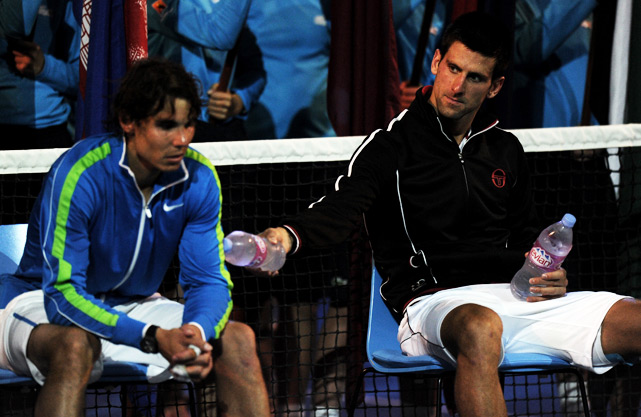 "After the match, Nadal (left) said of the marathon match: ""Physically, was the toughest match I ever played. ... I am tired."" Nadal recorded a quality win over Roger Federer in the semifinals, but still is yet to find an answer for Djokovic."