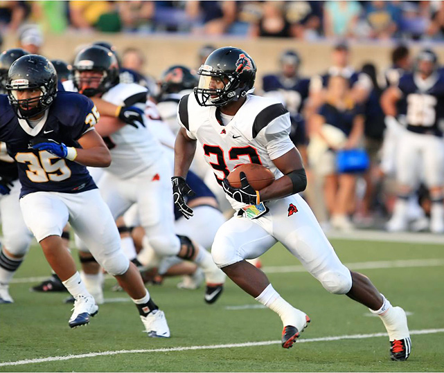High School:  Aledo (Texas)  Height:  5-11  Weight:  200 Arguably the greatest high school running back of all-time, Gray amassed 10,908 rushing yards and 205 career touchdowns, the latter setting a new national record. He racked up 3,905 rushing yards, 567 receiving yards and 70 total touchdowns during his sensational senior season, and carried Aledo to a third straight Class 4A Division 2 title in December. He has committed to Texas, where he'll likely split time with former five-star tailback Malcolm Brown.