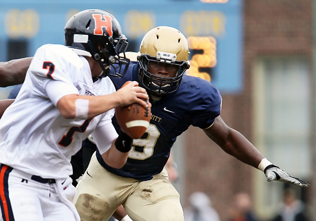 High School:  Bishop McDevitt (Pa.)  Height:  6-3  Weight:  235 An unmistakable presence on the line, Spence may be the nation's most gifted pass-rusher. He registered 84 tackles, 23 for loss and 10 sacks for 13-3 Bishop McDevitt, and committed to Ohio State after visiting Columbus on Dec. 18.