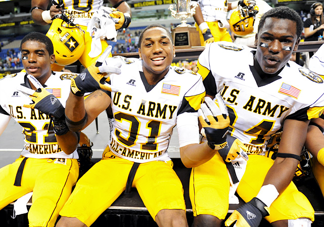 High School:  Athens (Texas)  Height:  6-1  Weight:  175 Originally an Oklahoma State commit, Sanders (center) decommitted from the Cowboys in late November before pledging to the Longhorns on Dec. 2. He hauled in three interceptions as a senior, and caught two more in the U.S. Army All-American Bowl.