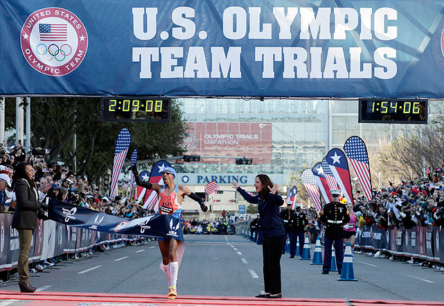 Meb Keflezighi sprints across the finish line to finish first in the U.S. men's Olympic marathon trial. At 36, Keflezighi is the oldest to ever win the trial.