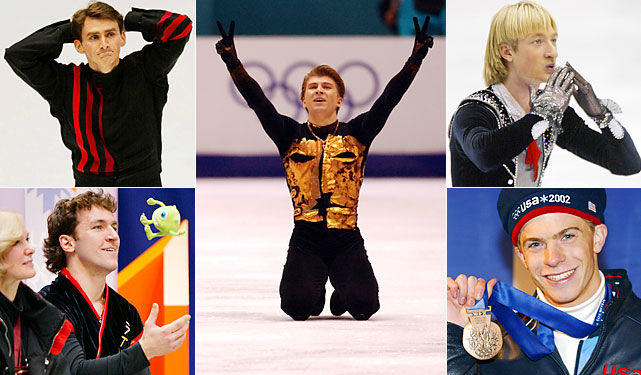 A Russian won men's figure skating gold for the third straight Olympics. Alexei Yagudin (center) swept first-place marks from the judges, including four 6.0s in the long program. Evgeni Plushenko (top right) won silver and American Timothy Goebel (bottom right) took bronze. The Salt Lake Games also saw the final performances from stalwarts Todd Eldredge (top left) and Elvis Stojko (bottom left), who had seven Olympics between them.