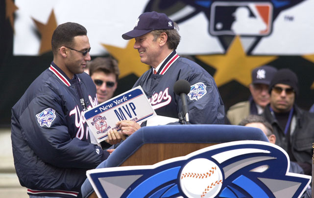 "World Series MVP Derek Jeter gets a ""MVP"" license plate from then-New York governor George Pataki after the Yankees beat the Mets in the 2000 Fall Classic."
