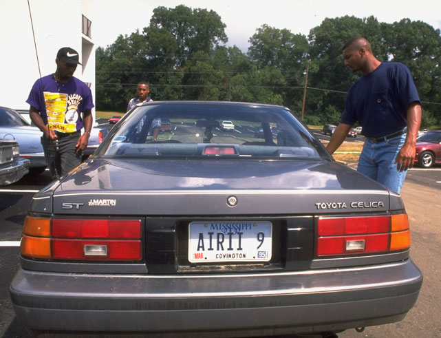 "The late Steve McNair -- then a top quarterback at Alcorn State -- displays his ""AIR II 9"" license plate."