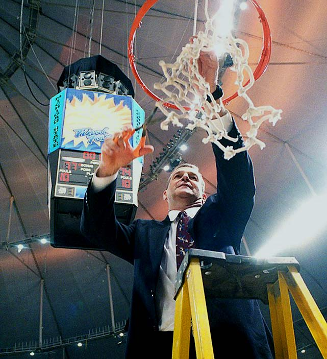 Calhoun racked up 873 collegiate wins - 625 of them at his beloved UConn, where he ran the men's program for 26 years and won three national titles.  Calhoun was hired by UConn in May 1986 and won an NIT title in his second season. His teams won 10 Big East regular-season championships and seven Big East Tournament titles.  In 1999, he coached the Huskies to a 34-2 record and their first NCAA championship, a 77-74 upset over Duke.  In 2004, the Huskies started and ended the season at No. 1, beating Georgia Tech in the NCAA championship game 82-73.  In 2011, UConn finished the regular season in ninth place in the Big East before reeling off a remarkable 11-game run in the postseason, including a 53-41 victory over Butler in the national championship game.