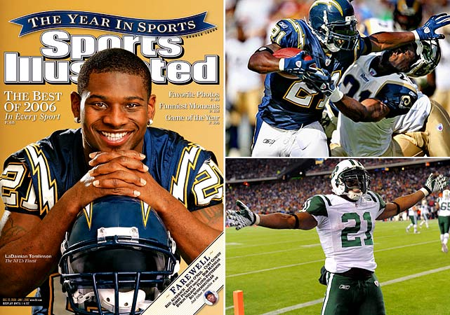 LaDainian Tomlinson, the fifth leading rusher in NFL history, announced his retirement on June 17, one day before he ceremoniously rejoined the San Diego Chargers, the franchise where he spent the first nine years of his career. Tomlinson was the league's MVP in 2006 after setting single-season records with 31 touchdowns and 186 points. Tomlinson spent his final two seasons with the New York Jets and finished his career with 13,684 yards and 145 touchdowns.