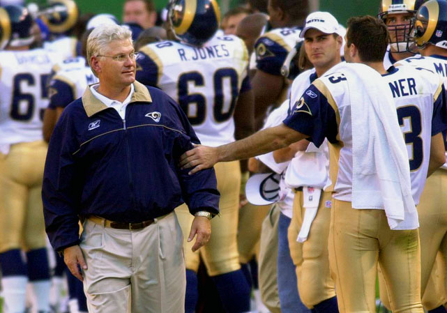 """The architect of the Rams' """"Greatest Show on Turf,"""" Martz retired in January after being forced out of Chicago after two years running the Bears' offense. The longtime offensive coordinator and one-time head coach compiled a 56-36 record while leading the Rams and got them to Super Bowl XXXVI, where they lost to the Patriots."""
