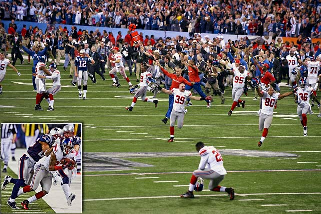 Eli Manning and the Giants upset the Tom Brady-led Patriots in the Super Bowl for the second time in five years, getting a late touchdown from running back Ahmad Bradshaw to beat New England 21-17. A dramatic late reception again keyed the Giants victory, with Mario Manningham following up David Tyree's 2008 helmet catch with an acrobatic final drive snag of his own.