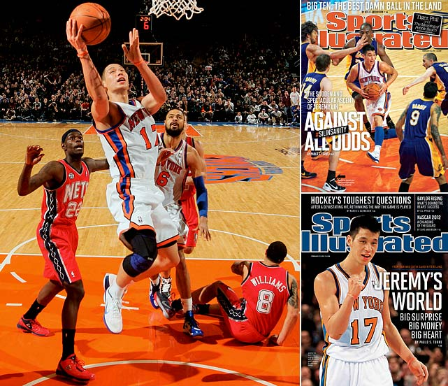 Jeremy Lin, a previously little-known Harvard grad, became a legend in early February, captivating the world with his improbably strong -- if turnover heavy -- play. It started on Feb. 4 as he scored 25 points and made seven assists off the bench in a comeback win over New Jersey. He went on to lead the then-reeling Knicks to seven consecutive wins. Not bad for a guy who had been crashing on his brother's couch.