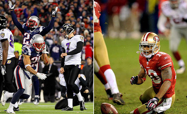 Late mistakes were crucial in both Conference Championship games, with Ravens kicker Billy Cundiff missing a late 32-yard field goal to send New England to the Super Bowl and 49ers returner Kyle Williams fumbling two punts to give the Giants an OT win.