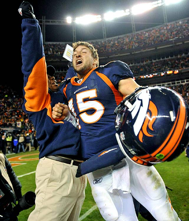 Tim Tebow threw for 316 yards and two touchdowns and rushed for 50 yards and another score in the Broncos' 29-23 overtime defeat of Pittsburgh in the Wild-Card playoffs. It was the first game that used the NFL's updated playoff overtime rules -- though Tebow and receiver Demaryius Thomas rendered them meaningless by hooking up for an 80-yard touchdown in the first play of the extra period.