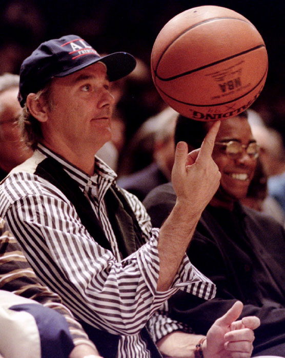 Murray gives the ball a spin during a break in a Knicks-Heat game at Madison Square Garden.