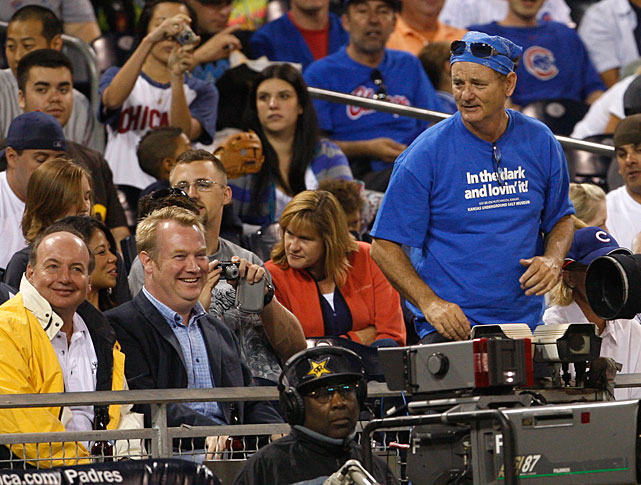 A long-suffering Cubs fan, Murray urges his team on during a 2009 game against the Padres in San Diego.