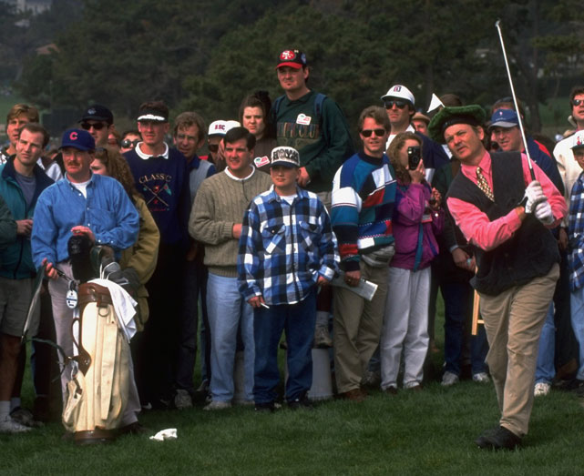 Murray connects on a tee shot at the 1995 Pebble Beach Pro-Am.