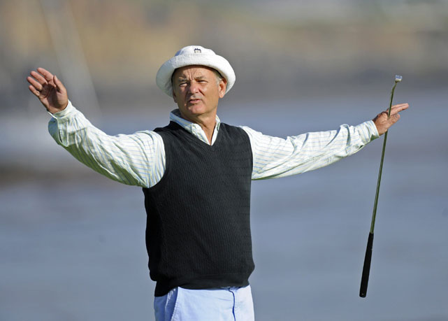 Murray quiets the crowd on the 18th green during the 2008 First Tee Open at Pebble Beach.