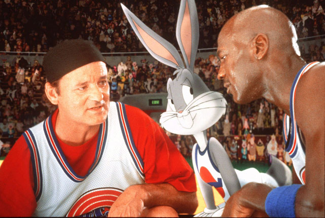 Murray draws up a play with Michael Jordan and Bugs Bunny during the 1996 classic  Space Jam .
