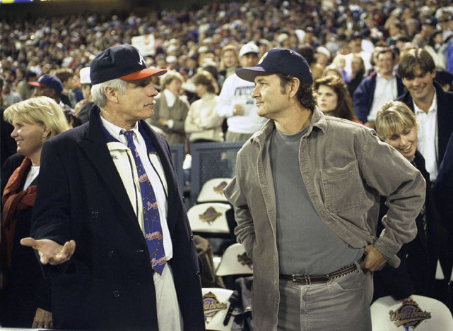Then Braves owner Ted Turner chats up Murray during a 1995 World Series game between Atlanta and Cleveland.
