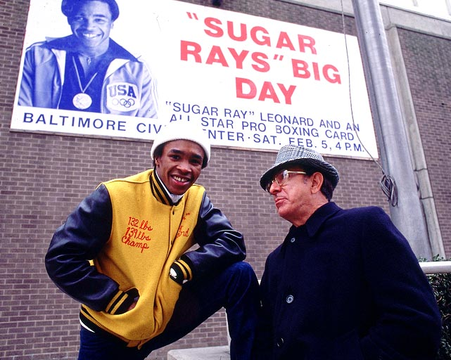 Dundee poses with Sugar Ray Leonard before Leonard's first professional fight. Aside from Ali, Leonard was Dundee's most famous boxer. Dundee started working with Leonard in the late `70s, manning the corner for some of Sugar Ray's biggest fights and helping him become one of the most well-known welterweight champions in history.