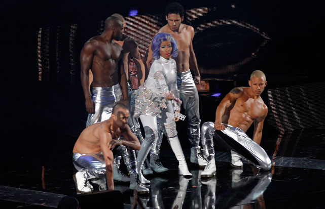 Rapper Nicki Minaj opened the All-Star Game with a performance wearing this.