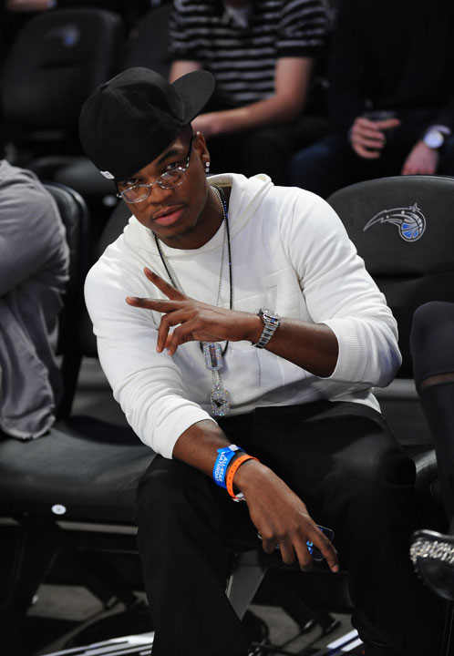 R&B singer Ne-Yo, who played in the celebrity game, sat courtside for Saturday's events.