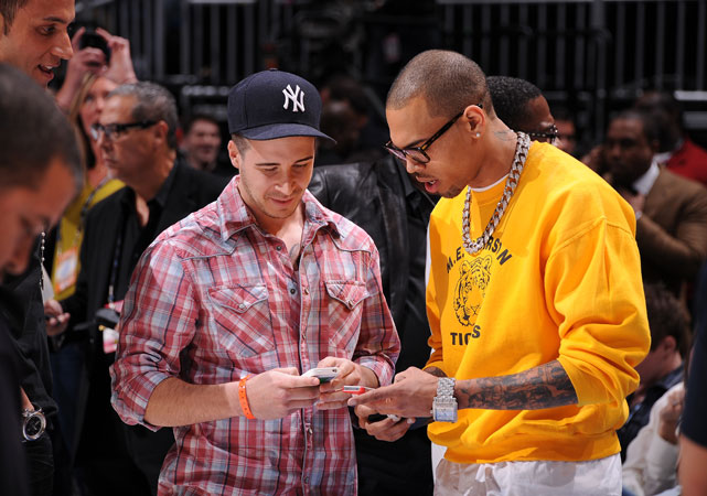 Vinny and R&B singer Chris Brown exchanged digits during the Skills Challenge. This could be the start of something special.