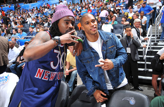 Rapper Wale and Super Bowl champ Victor Cruz watched Jeremy Lin and the rest of the BBVA Rising Stars in action Friday.