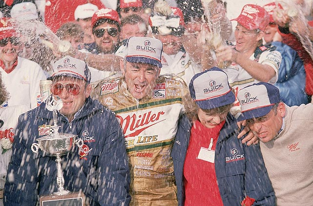 Bobby Allison is showered with beer in 1988 after winning his third and final Daytona 500. Allison and his son, Davey, finished 1-2 in the '88 race.