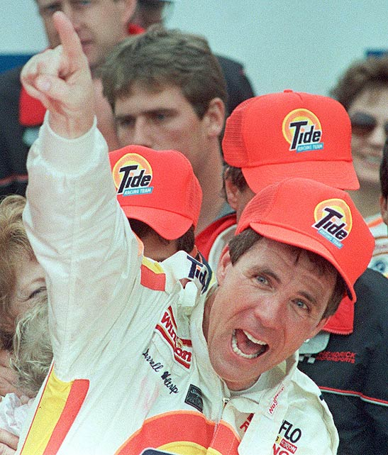 Darrell Waltrip celebrates pointedly after winning the 1989 500.