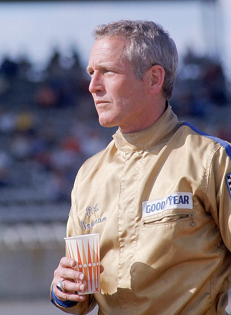 A close-up of actor and car owner Paul Newman during the 1974 Daytona 500. An avid racer, Newman owned a NASCAR car before selling it to Penske Racing.