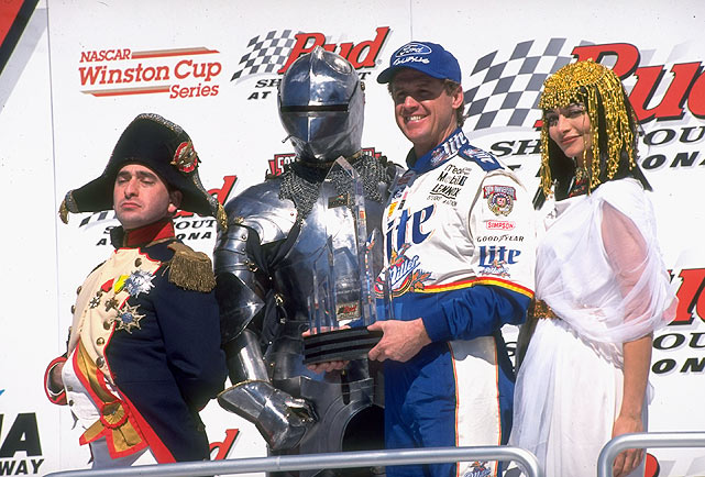 Napoleon, a knight in shining armor and Cleopatra congratulate Rusty Wallace during Speedweeks leading up to the 1998 Daytona 500.