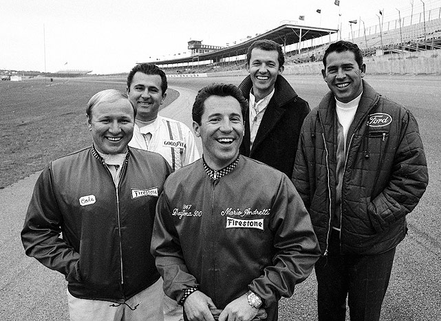 Cale Yarborough, LeeRoy Yarbrough, Mario Andretti, Richard Petty and David Pearson (left to right) pose for a photo before the 1968 500.