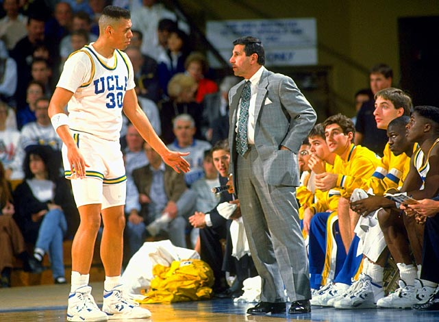 Tracy Murray has it out with coach Jim Harrick during a 1991 game. Murray averaged 18.3 points, 6.4 rebounds and 1.5 assists in 98 games at UCLA.