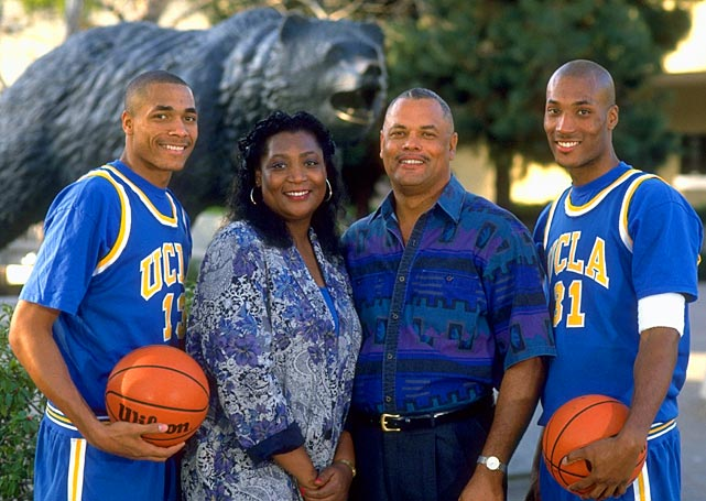 Charles (far left) and Ed O'Bannon (far right) stand with their parents, Madeline and Ed Sr., in this 1994 photo. Both Ed and Charles were a part of the Bruins' 1995 national championship team.