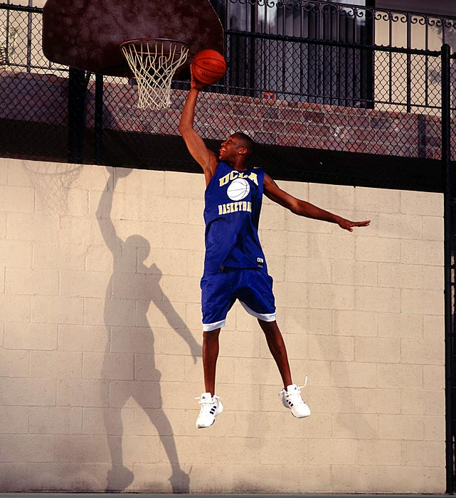 JaRon Rush, the older brother of former NBA player Kareem and Golden State Warrior Brandon, practices alone on a playground in this 1999 photo.