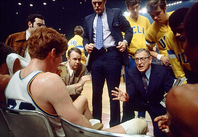 Wooden coaches his team during a 1972 game against Florida State.