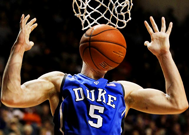 Located in North Carolina's famed Research Triangle, Duke enjoys a distinct advantage in recruiting the latest genetically engineered mutants. Here's one scaring Virginia Tech's players in a 75-60 win.