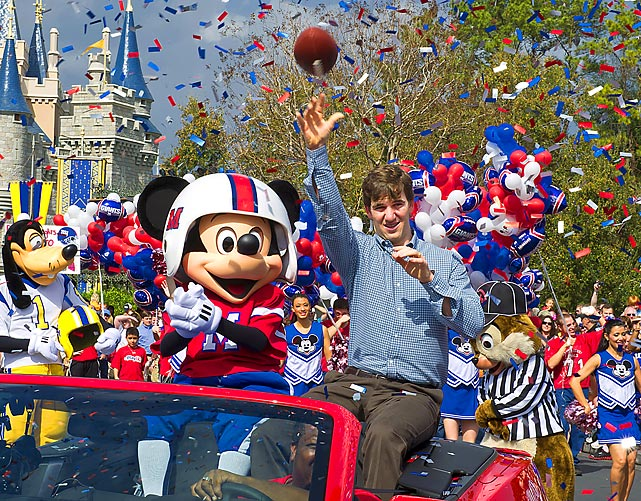 The Super Bowl MVP and his receiving corps reenacted the big game for the tourists at Disney World.