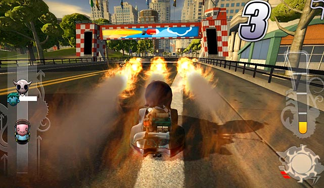 Everything that's great about this goofy racer on the PS3 is available on the go in the Vita build. There are 30 races to tackle in the career mode, while you can also customize and share your own tracks online. The biggest difference from the console version is that you can use the touch screen to create your tracks now. Touch screen functionality is actually a perfect fit for creating courses. Dragging and dropping seems natural from the beginning and lets you whip up courses almost as fast as you can send your character careening through them. A clunky menu layout hurts navigation when you're not playing, but the action on the track is non-stop fun. A perfect game to enjoy in spurts when you're away from home.  Score: 8 out of 10