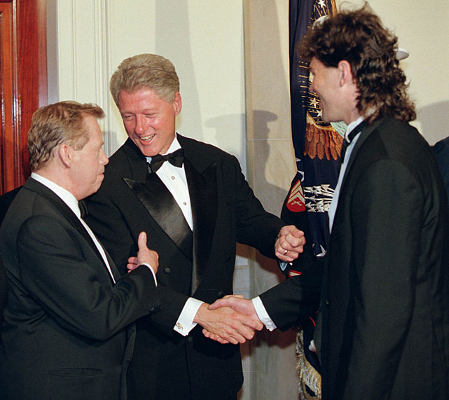 President Bill Clinton introduces then-Penguins forward Jaromir Jagr to Czech Republic president Vaclav Havel at the White House in September 1998. Jagr was a part of the gold medal-winning Czech team at the 1998 Winter Olympics.