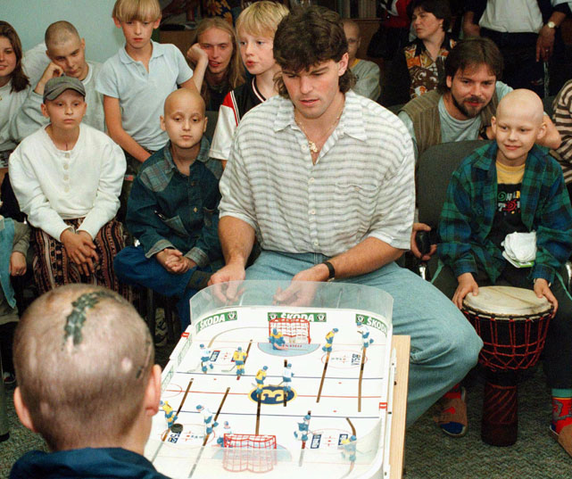 Jagr plays table hockey with patients of the Children's Oncology Clinic in Prague. Jagr signed with the Flyers in the summer of 2011 after spending three years in Russia's Kontinental Hockey League.