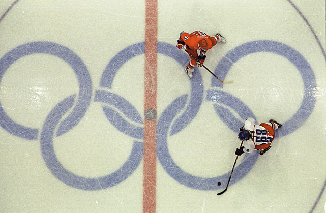 Here's an aerial view of Jagr in action against Russia in the 1998 Winter Olympics. Jagr and the Czech squad took the gold medal in Nagano.
