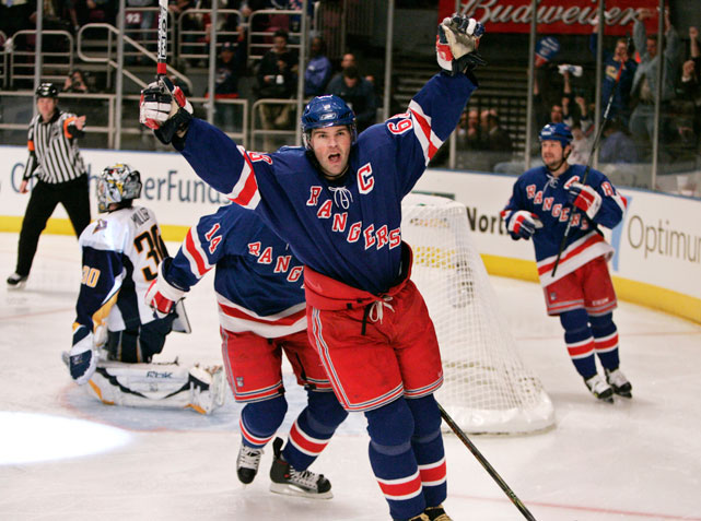Jagr celebrates after scoring a goal for the New York Rangers in their 2007 playoff series against the Buffalo Sabres. Jagr joined the Rangers in 2003 after playing the first 14 years of his NHL career with the Penguins and Washington Capitals.