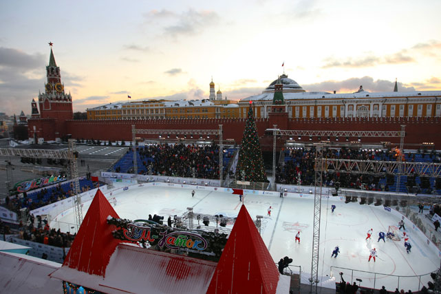 Players from the Jaromir Jagr team, in blue, and players from the Alexei Yashin team, in red, are seen during the 2009 KHL All-Star Game in Moscow's Red Square.
