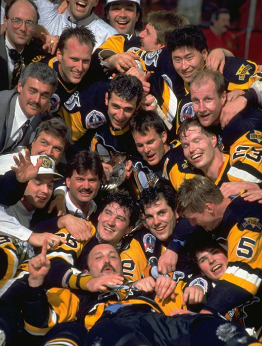 Jagr at the bottom of the dog pile (he's under No. 5) after the Penguins' 1992 Stanley Cup win.
