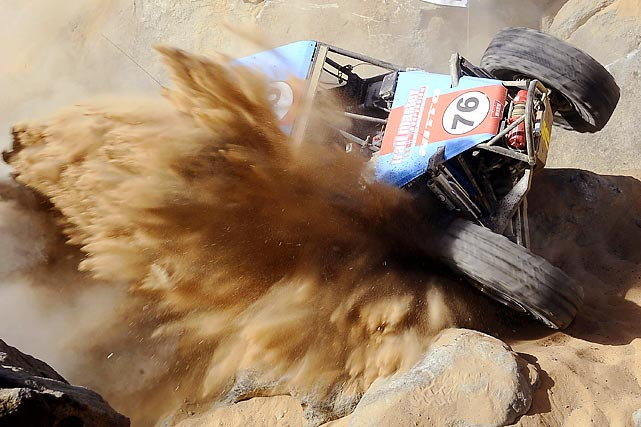 Off-road racers crawl up the Chocolate Thunder Ridge section of the course at the sixth annual King of the Hammers run in Johnson Valley, Calif. This year's edition of the King of the Hammers race saw 136 racers attempt to complete the 156-mile course within a 14-hour time limit.