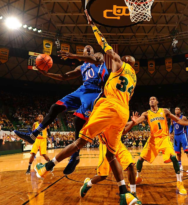 Kansas point guard Tyshawn Taylor puts up a shot against Baylor's Cory Jefferson.