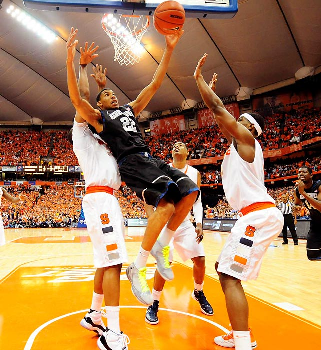 Georgetown forward Otto Porter attempts to pull down a rebound in the Hoyas' overtime loss at Syracuse.