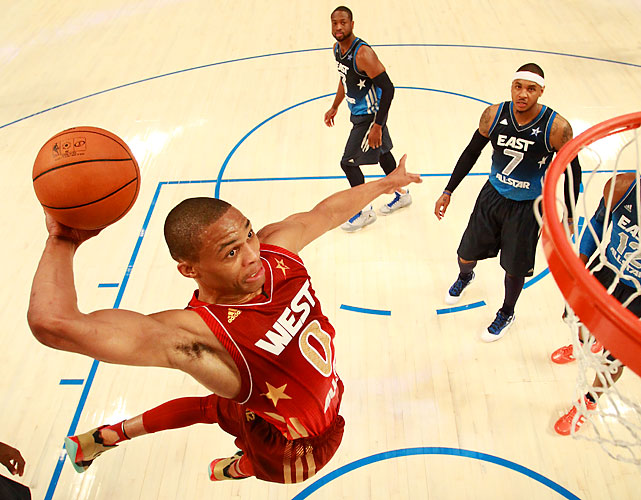 Russell Westbrook gets in on the gravity-defying action.
