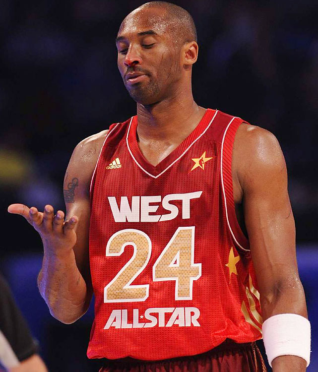 Kobe lost a little blood after Dwyane Wade popped him in the nose.